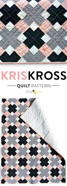 A simple, modern quilt pattern that looks complex. Check out the YouTube video tutorial with instructions! by rosanna