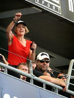 NSW Premier Kristina Keneally watching the Rabbitohs v Roosters at ANZ Stadium.