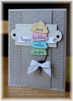 Birthday Card Ideas : Stampin Up! Cupcake Punch Heather Klump at Downstairs Designs Kids Birthday Cards, Handmade Birthday Cards, Greeting Cards Handmade, Birthday Wishes, Birthday Images, Birthday Quotes, Birthday Greetings, Cumpleaños Diy, Waterfall Cards