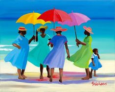 """Salty Sisters"" by contemporary Caribbean artist Shari Erikson. This painting speaks beautifully of the Caribbean. African American Art, African Art, Art Afro, Caribbean Art, Umbrella Art, Art Africain, Naive Art, Beach Art, Amazing Art"
