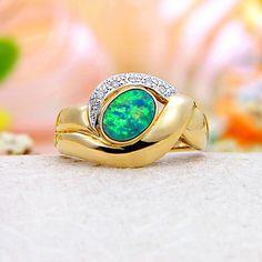 14k Yellow Gold Diamond, Rainbow Fire Australian Black Opal Doublet (Boulder Opal) Ring