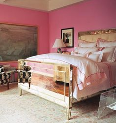 Hot Pink walls with mirror bed- With a different color- this is fabulous. Home Bedroom, Bedroom Decor, Glam Bedroom, Girls Bedroom, Design Bedroom, Bedroom Ideas, Mirrored Bedroom, Shabby Bedroom, Feminine Bedroom