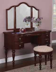 Vanity Table Set in Marquis Cherry Finish