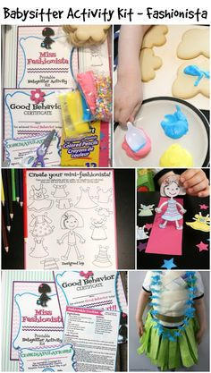 Fashion Crafts For Kids - Babysitter Activity Kit - this is great as a babysitter games or family fun! Includes printable crafts, games for kids and more!