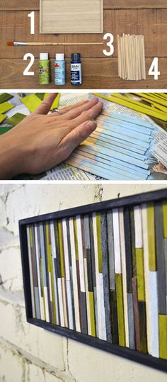 Coffee Stirrer or Popsicle Stick DIY Wall Art - DIY Home Decorating on a Budget - Click for Tutorial
