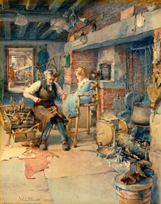 """""""The Traveling Shoemaker"""" . by William Ladd Taylor ck 4 dup Magazine Pictures, Art Plastique, Alter, Folk, Art For Kids, Cool Pictures, Illustration Art, Drawings, Artist"""