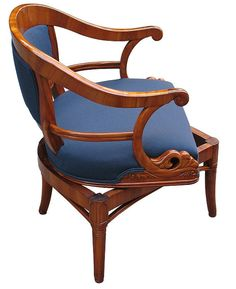 Rare Biedermeier swivel chair (armchair / openarm begere)  Austria/Hungary  Second quarter of 19th Century  Extraordinary Austrian / Hungarian Biedermeier swivel chair (armchair / open arm bergere)