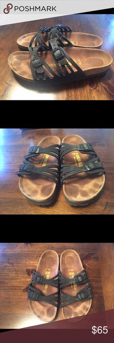 Birkenstock black Granada sandals Birkenstock Granada sandals (originally $94.99) only worn a couple of times. Tried wearing them a couple days and realized they're a bit too small for me. Size 38 Birkenstock Shoes Sandals