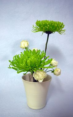 2 green mums and white roses.