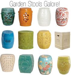 """Ceramic Garden Stools"" by insideavenue on Polyvore"