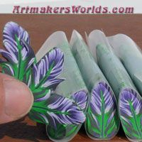 green, pink, blue feather~ Polymer Clay Canes