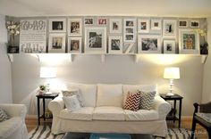white frame picture ledge photo wall