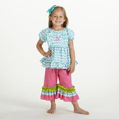 Check out this Aqua Chevron Pink Ruffle Capri Set for $39 or find your favorite gifts at Lolly Wolly Doodle. Click on the link to receive three dollars off your next order!