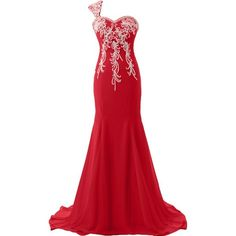 Ivydressing Demure One Shoulder Prom Gowns Applique Mother of the... ($146) ❤ liked on Polyvore featuring dresses, gowns, red evening gowns, prom dresses, red ball gown, prom homecoming dresses and red prom dresses