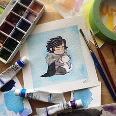 Jon Snow Game of Thrones Watercolor Print by Michelle Coffee