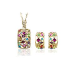 Authentic Austrian colorful crystal 18k gold plated badge necklace earrings jewelry set [JS430] - US$18.03 : www.evernewfashion.com