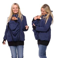 Viva la Mama | Baby Carrying Softshell Jacket AVENTURO (3in1- blue, water-repellent, windproof). Outdoor jacket for pregnancy, maternity, baby wearing and everyday use. Mommy and baby are protected from rain, wind and cold. Perfect companion for outdoor and mountain moms!:)