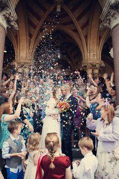 Wonderful photo, wish we were allowed proper confetti! Maybe one for the garden pary, the stuff birds can eat! Irish Wedding, Our Wedding, Wedding Blog, Wedding Exits, Magical Wedding, Wedding Things, Wedding Ceremony, Confetti Photos, Diy Confetti