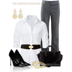 Wide black belt with a white collared shirt. well put together! (trade in the heels for flats or boots)