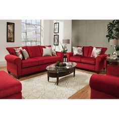 Shop for a Cindy Crawford Bellingham Cardinal Classic Living Room at Rooms To Go. Find Living Room Sets that will look great in your home and complement the rest of your furniture. Red Living Room Set, Classic Living Room, Living Room Colors, Living Room Sofa, Living Room Furniture, Home Furniture, Furniture Sets, Furniture Websites, Furniture Movers