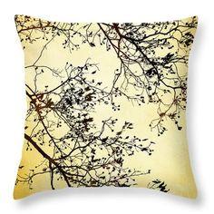 Black And Gold Tree Throw Pillow by Christina Rollo