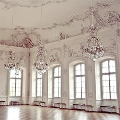 large windows + chandeliers