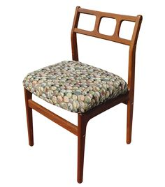 """Vintage Danish Modern teak dovetailed side chair. This is a very nice Mid-century, Danish Modern teak side chair.  No maker's mark. It is well made, the feet of the chair are rounded. I just love the lines of this chair. Great lines! May have been re-upholstered at some point.  The chair measures 32"""" high 18"""" wide 21"""" deep  Weight: 14 pounds"""
