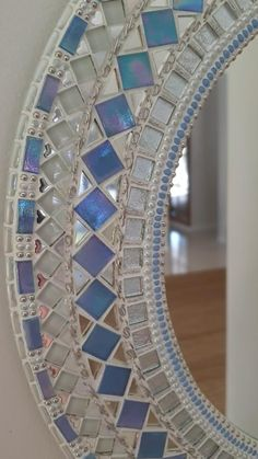 Mosaic Tile Art, Blue Mosaic, Mirror Mosaic, Mirror Tiles, Mosaic Projects, Mosaic Tile Crafts, Mosaic Glass, Diy Crafts Room Decor, Mirror Crafts