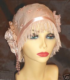 1920's vintage inspired pink silk turban cloche flapper hat.