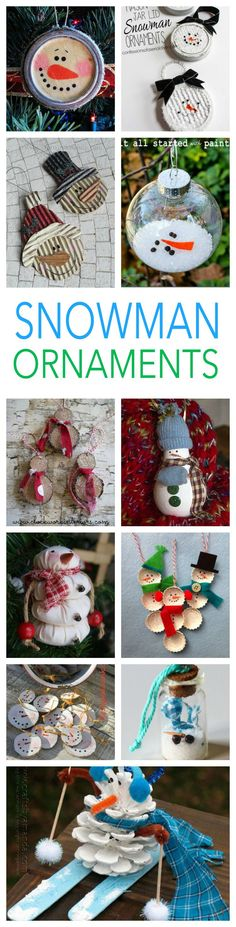SNOWMAN ORNAMENTS TO MAKE - tons of snowman ornament craft ideas, make your own ornaments this year. Or give a cute snowman ornaments as your homemade gifts!