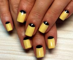 Autumn nail shellac, Black and yellow nails, Contrast nails, Fall nails 2016, Halloween nails, Manicure by yellow dress, Reverse French manicure, Reverse French nail design