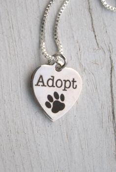 Adopt Paw Necklace - quality non fading stainless steel engraved heart - also NEW CHARMS ! on Sterling Silver 925 chain (15.49 USD) by KrystalKlarityBeads