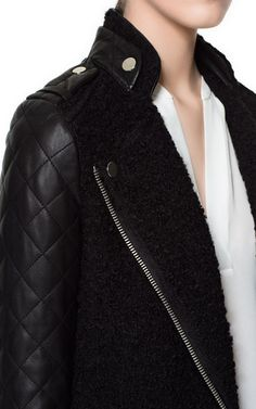 COAT WITH QUILTED LEATHER SLEEVES :: zara
