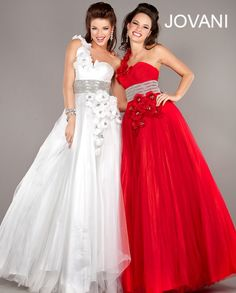 Jovani One Shoulder Rosette Ballgown Style 2237 #Jovani #Quinceanera #princess #prom #girly #red #white