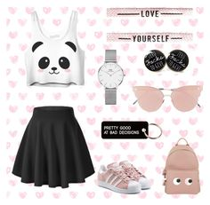 """pretty girly style"" by kate07-1 ❤ liked on Polyvore featuring Daniel Wellington, So.Ya, Various Projects, adidas Originals and Anya Hindmarch"