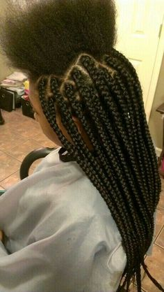 Top 60 All the Rage Looks with Long Box Braids - Hairstyles Trends Large Box Braids, Medium Box Braids, Hair For Box Braids, Thick Box Braids, Box Plaits, Cornrows With Box Braids, Kids Box Braids, African Hairstyles, Braided Hairstyles