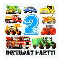 Custom Boys 2nd Birthday Construction Truck Party Card