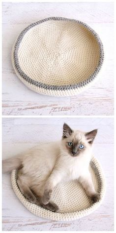 Crochet Cat Bed – Free Pet Pattern - 26 Free Crochet Patterns For Pets to Make Their Life Easier - DIY & Crafts