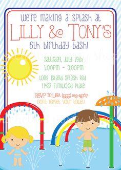 NEW SET OF 12 Splash Pad Birthday Party Invitations by mlf465