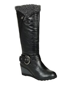 Look at this Black Addie Button Wedge Boot on #zulily today!