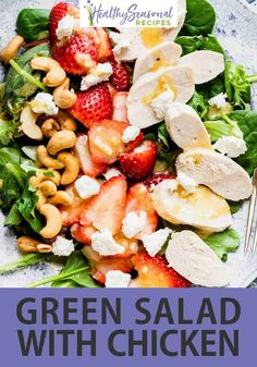 This Green Salad with Chicken, Strawberries and Goat Cheese is an awesome entree salad for your next brunch, lunch or dinner. Bonus that it is also low carb and gluten free! Green Salad With Chicken, Chicken Salad, Easy Salads, Healthy Salads, Goat Cheese Stuffed Chicken, Goat Cheese Salad, Vegetable Seasoning, Healthy Side Dishes, Easy Weeknight Meals