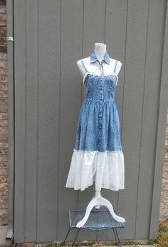 Altered Women's Lacy Denim Blue Jean Dress, Lacy Dressy Wide Jean Dress, Small Sundress, Cowgirl Dress, Feminine Lacy Dress