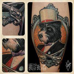 Stunning dog tattoo by Kid Kros