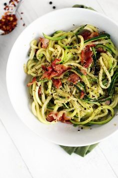 Cacio e Pepe with Bacon (Zucchini Noodles), Love this as a lighter alternative to pasta for a romantic Valentines Dinner. (plus you get to have bacon!!)