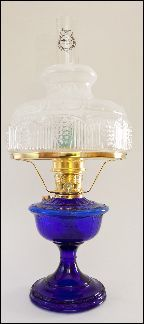 ALEXANDRIA Aladdin Oil Lamp ** COBALT BLUE Glass ** with White Top / Clear Bottom Glass shade -  Brass hardware.. everyone should have one