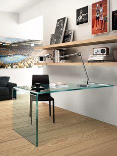 Rialto L Wall Mounted glass top desk