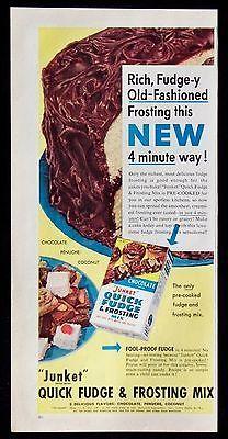 Vintage 1953 Junket Brand Quick Fudge Frosting Mix Magazine Ad