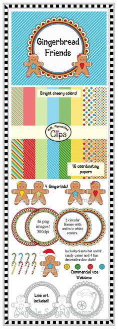 Gingerbread Friends Collection! $ http://www.teacherspayteachers.com/Product/Clip-Art-Gingerbread-Friends-Collection-998835