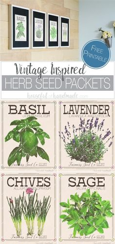 Bring the outdoors inside with these free vintage inspired herb prints made to look like vintage seed packets. Herb prints are a great way to add wall decor to  your kitchen or dining room. This vintaged herb seed packet art is an easy way to add a statem