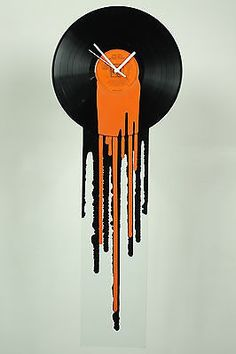 Vinyl-clock-Funky-Retro-orange-clock-Modern-Melting-12-inch-Record-clock-Orange